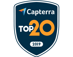 This image has an empty alt attribute; its file name is capterra-top20-2019-badge-color-e1576070872297.png